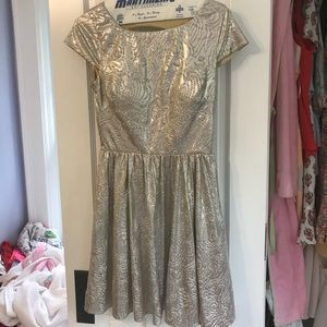 Metallic dress with cut outs in the back!
